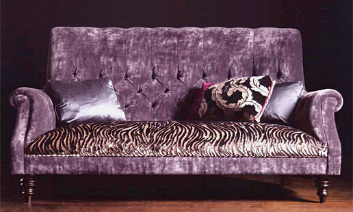 John Sankey Holkham Sofa in Velvet Fabric with Contrast Seat Cushions and Scatter Cushions