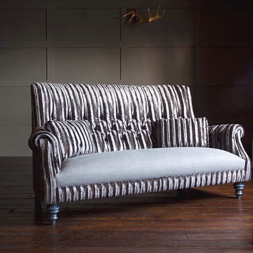 John Sankey Holkham Sofa in Renishaw Coal Fabric and Contrast Seat Cushions