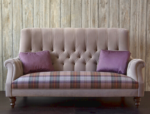 John Sankey Holkham Sofa in Tate Velvet Dovetail with Mandolin Check Heathland Seat Cushions