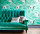 John Sankey Holkham Sofa in Harlequin Velvet Green Fabric Roomset