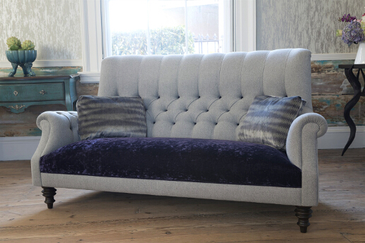 John Sankey Holkham Sofa in Milligan Silver and Du Barry Velvet Iris