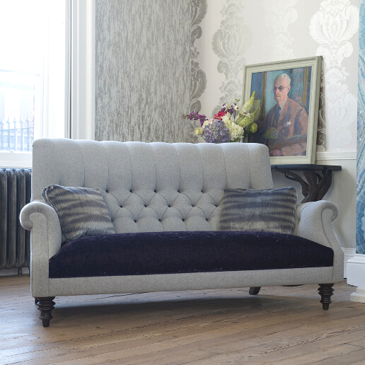 John Sankey Holkham Sofa in Milligan Silver and Du Barry Velvet Iris Roomset