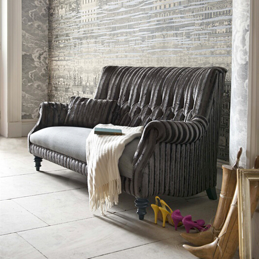 John Sankey Holkham Sofa in Renishaw Coal Fabric Roomset