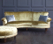 John Sankey Matilda Sofa in Ava Velvet Green Gold Fabric with Boothby Ottoman