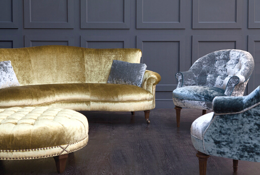 John Sankey Matilda Sofa in Ava Velvet Green Gold Fabric with Boothby Ottoman and Ferdinand Chairs