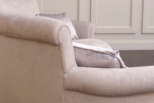 John Sankey Matilda Sofa in Monty Shell Fabric Arm and Back Detail