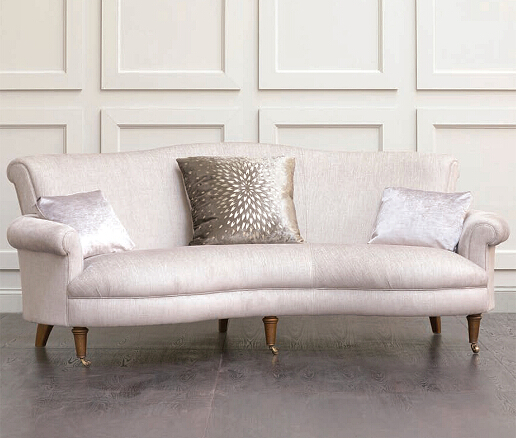 John Sankey Matilda Sofa in Monty Shell Fabric with Chrysanthemum Decorative Accessory