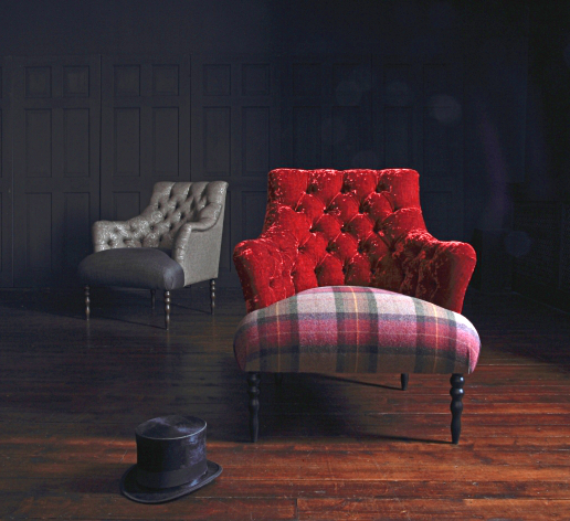 John Sankey Milliner Chair Du Berry Velvet and Soft Check Damson Fabrics