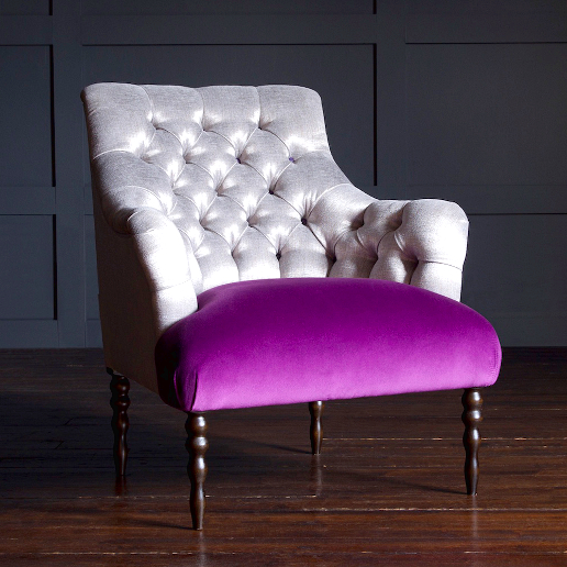 John Sankey Milliner Chair in Cristallo Nickel Forenza Crocus Fabric