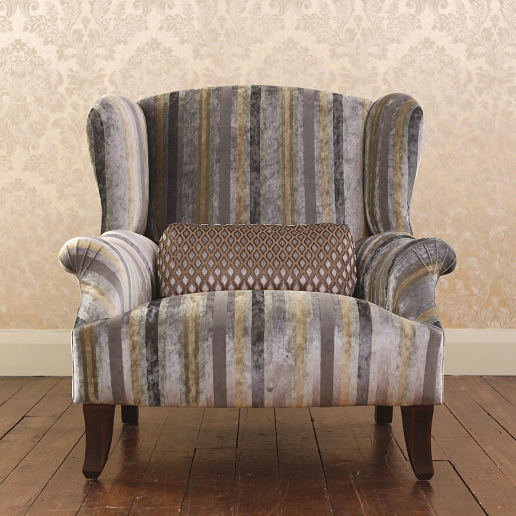 John Sankey Moliere Wing Chair in Chevalier Stripe Graphite Fabric
