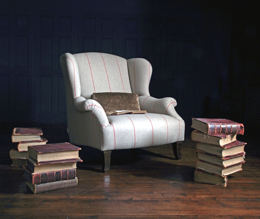 John Sankey Moliere Wing Chair in Jermyn St. Cinchilla Fabric