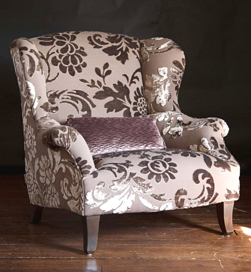 John Sankey Moliere Wing Chair in Marlene Taupe Fabric