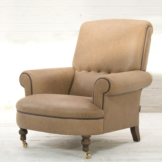 John Sankey Partridge Chair in Horatio Toffee Leather with Contrast Leather Piping Detail