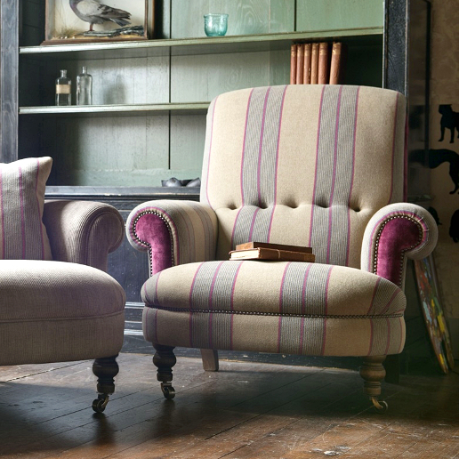John Sankey Partridge Sofa and Chair in Landscape Hero Fabric