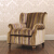 John Sankey Tolstoy Chair in Chevalier Stripe Rose Gold Fabric