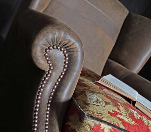 John Sankey Tolstoy Chair in Full Leather with Contrast Fabric Seat Studded Arm Detail