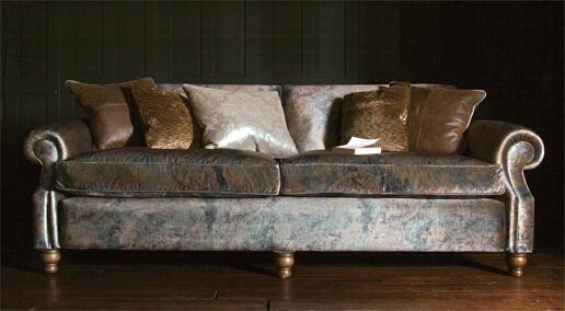 John Sankey Tolstoy Sofa in Customers Own Material with Contrast Scatter Cushions