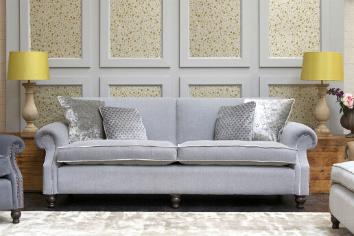 John Sankey Tolstoy Sofa in Milligan Silver Fabric with Velvet Piping