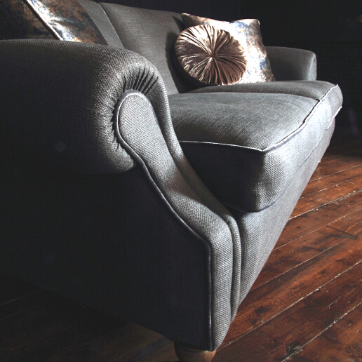 John Sankey Tolstoy Sofa in Monmartre Coal Fabric Arm Detail