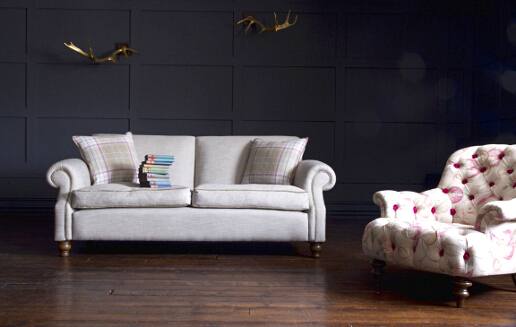 John Sankey Tolstoy Sofa in Vintage Linen Lichen with Crinoline Chair in Omoko Antique Fabrics