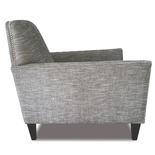 John Sankey Tuxedo Club Chair in Hudson Nero Fabric with Studding Side View