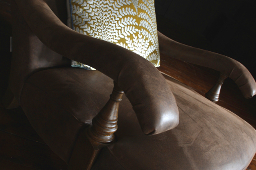 John Sankey Byron Chaise Chair in Hawker Peat Leather Arm Details