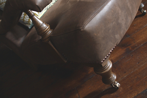 John Sankey Byron Chaise Chair in Hawker Peat Leather Leg Details