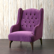 John Sankey Buckingham Wing Chair in Tate Velvet Blackberry Fabric at Kings Interiors - Finest Quality British Handmade Bespoke Furniture Best Price in UK