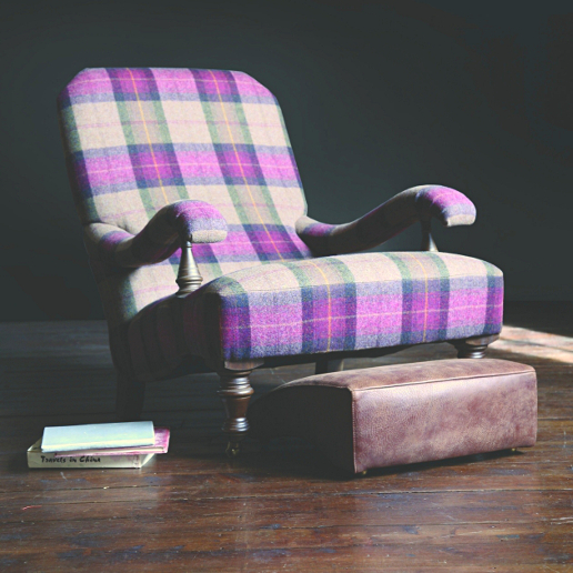 John Sankey Upholstery Byron Chaise Chair in Soft Check Damson Wool Fabric
