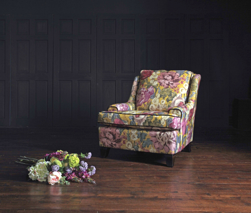 John Sankey Voltaire Chopin Chair in Loseley Park Lime Fabric Roomset