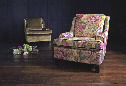 John Sankey Voltaire Chopin Chair in Loseley Park Lime and Lustre Velvet Fabrics