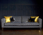 John Sankey Voltaire Sofa in Poiret Jet Fabric with Contrast Cushions