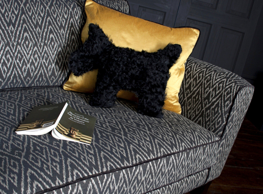 John Sankey Voltaire Sofa in Poiret Jet Fabric with Pooch Detail