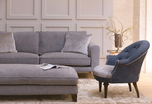 John Sankey Voltaire Sofa in Edgar Granite Fabric with Ferdinand Chair and Voltaire Daybed