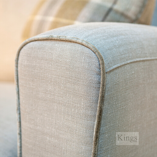 John Sankey Voltaire Sofa in Linen Fabric with Wool Plaid Fabric Arm Detail