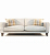 John Sankey Voltaire Sofa in Linen Fabric with Wool Plaid Scatter Cushions