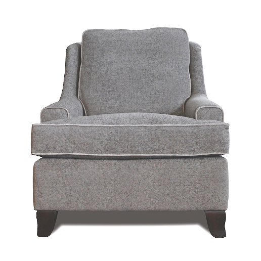 John Sankey Voltaire Chair in Edgar Blue Grey Fabric with Contrast Piping Detail