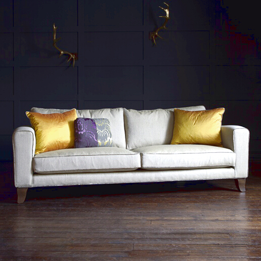 John Sankey Voltaire Cushion Back Sofa in Palmer Woodland Fabric