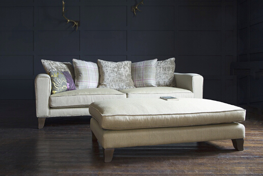John Sankey Voltaire Sofa with Scatter Cushion Back in Palmer Woodland Fabric with Voltaire Daybed