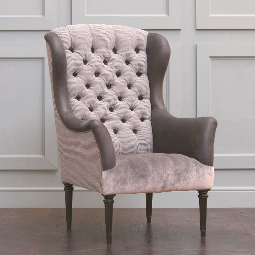 John Sankey Wainwright Chair in Gibert Basalt and Pixton Velvet Mole Fabrics with Ollivander Graphite Leather Inside Arms and Wings