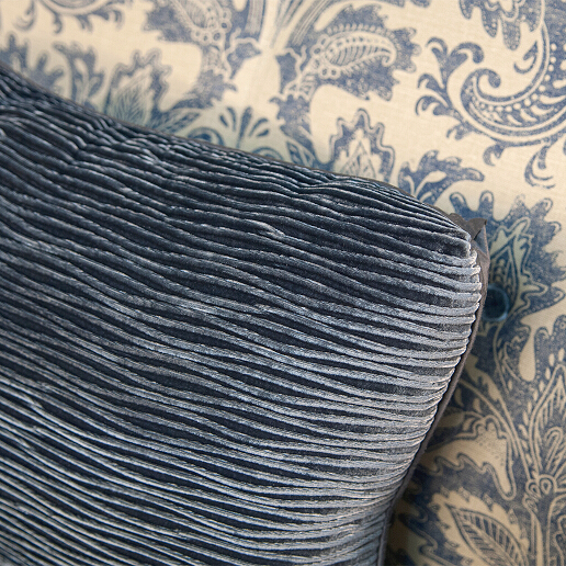 John Sankey Wolseley Sofa in Legacy Bermuda Fabric with Velvet Scatter Cushion Detail