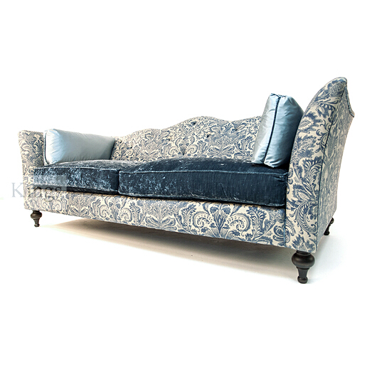 John Sankey Wolseley Sofa in Legacy Bermuda Fabric with Ava Velvet Lagoon Seat Cushions