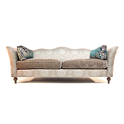 John Sankey Wolseley Sofa in Ava Velvet Caramel Fabric with Contrast Lumbar Cushions