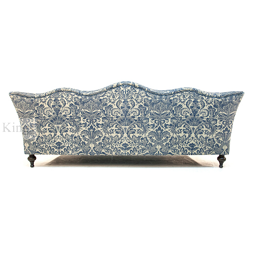 John Sankey Wolseley Sofa in Legacy Bermuda Fabric with Blue Velvet Scatter Cushions Back