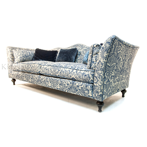 John Sankey Wolseley Sofa in Legacy Bermuda Fabric with Blue Velvet Scatter Cushions Side
