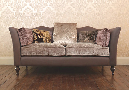 John Sankey Wolseley Large Sofa in Leather and Velvet Fabric Seat