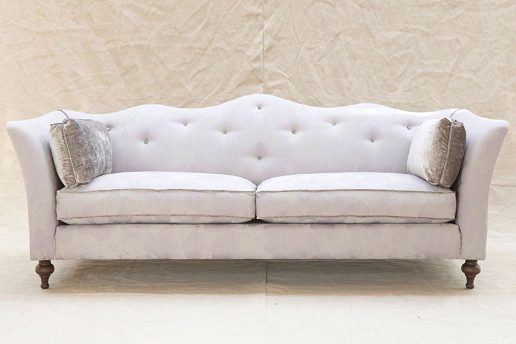 John Sankey Wolseley Sofa in Babington Rose Quartz Fabric with Contrast Piping and Velvet Cushions