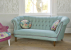 John Sankey Evita Sofa in Vintage Linen Aqua Fabric with Floral Circular Scatter Cushions