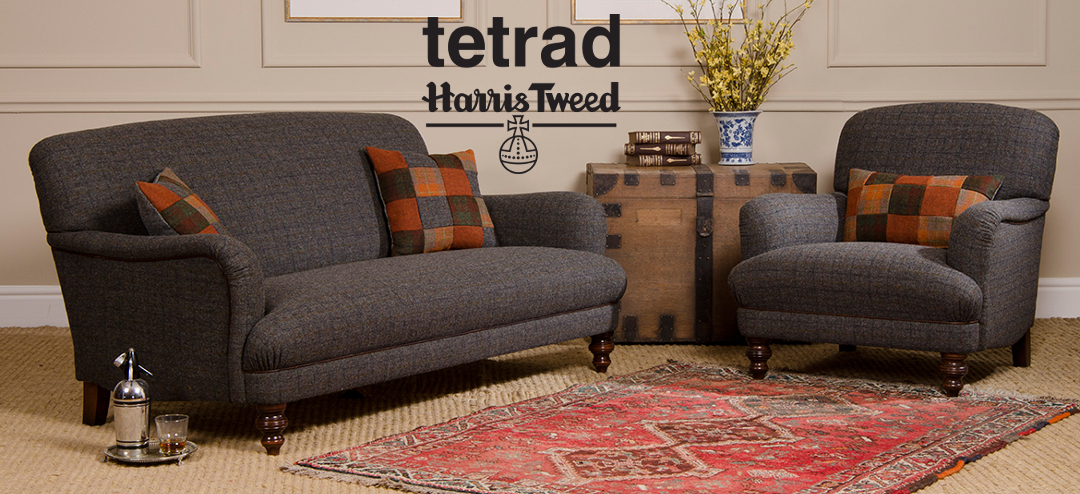 Tetrad Harris Tweed, unique hand woven Scottish tweed hand upholstered by Tetrad, the perfect combination.