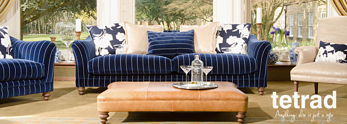 Tetrad Upholstery New Collection Gatsby Sofas in Ralph Lauren Signature Fabrics Egeton Pinstripe Navy Suit